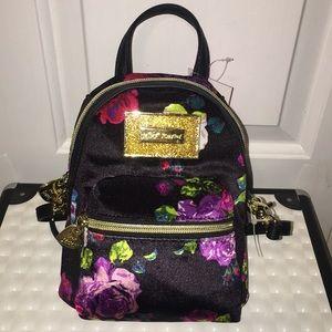 Mini Betsey Johnson Floral velvet backpack purse!